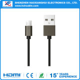 Carregador de dados USB 2.1A Bujão metálico Nylon cabo Micro USB