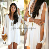 Heiße Verkaufs-europäische Sommer V-Muffe Chiffon- lose Form-Dame Dress