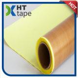 黄色いはく離ライナーが付いているブラウンPTFEのテフロン布の粘着テープ