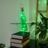 El corcho de hadas de la botella enciende con pilas blanco caliente de plata del alambre 20LEDs con destornillador