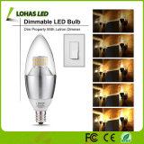 세륨 RoHS UL를 가진 미국 시장 E12 6W 가지가 달린 촛대 LED 초 전구