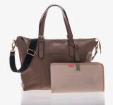 2017年の赤ん坊のおむつ袋の防水お母さん旅行は袋に入れる卸売(MOM01)が付いている革キャンバス袋を