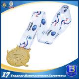 La ginnastica lucida di doratura elettrolitica mette in mostra la medaglia del metallo di promozione con il nastro