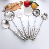 Nuevo tema popular de acero inoxidable de 7 PCS Turner cazo cuchara de Spaghetti Skimmer conjunto de utensilios de cocina