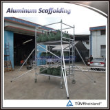 Sistema de andamio de doble anchura de andamio de marco de aleación de aluminio con ruedas
