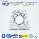 Perfil de aluminio para el disipador de calor con la plata que anodiza y que trabaja a máquina