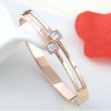 Elegant Jewelry Fashion Women Bracelet plaqué or en diamant en acier inoxydable