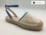 Les femmes Strape Beige Bleu Crochet espadrilles de filtre en coin