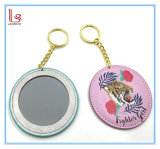 Metal Keychain de la alta calidad con el espejo Pocket redondo de la PU