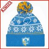 OEMはデザインアクリルの冬によって編まれたジャカード帽子の帽子をカスタマイズした
