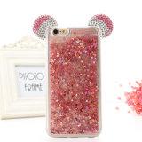 caisse transparente du sable mouvant TPU de scintillement de l'oreille 3D de Mickey de la décoration 3D pour l'iPhone 7