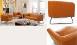 Sofá de combinación de oficina de cuero genuino con pierna de acero Wth