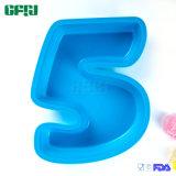 Moulage initial numéro 5 de gâteau d'usager de Bakeware de silicones de catégorie comestible d'usine