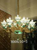Franch 작풍 밝은 초록색 황금 샹들리에 빛
