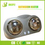 Calefator infravermelho dourado fixado na parede de 2 lâmpadas do calefator do banheiro