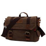 Professional OEM de cuero Vintage Travel Bolsa bandolera de lona de fábrica (RS-H7301)