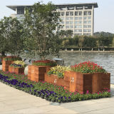 Fo-9c56 Corten Steel Flower Pot para decoração ao ar livre
