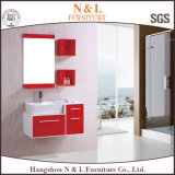 Modules de salle de bains rouges de PVC avec des miroirs