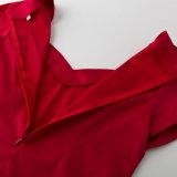 2017 краткость самой последней шеи женщины v красная Sleeves сексуальные верхние части Rockabilly