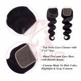 O fechamento brasileiro 4X4 do cabelo da onda do corpo do fechamento do laço do cabelo humano livra o fechamento do cabelo de Remy da polegada da parte 8-24