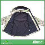 カムフラージュの機密保護の軍の戦術的な屋外のHoodie Softshellのジャケット