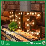 Grande segno esterno decorativo Wedding della lettera della lampadina della tenda foranea