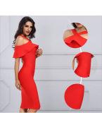 Vestito da partito delle signore con il vestito rosso Sleeveless dalla spalla del vestito