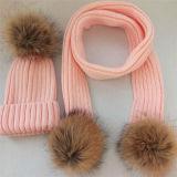 Custom женщин Raccoon мех Pompom трикотажные Beanie Red Hat