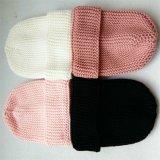 Sombreros del invierno verdadera de los niños hechos punto la última del casquillo de la piel del pompón gorrita tejida
