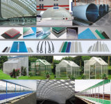 Vertente contínua da criação de animais da folha do policarbonato desobstruído e estufa agricultural