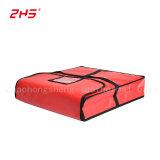 빨간 비닐 상자를 떠받치는 선택에 의하여 격리되는 피자 납품 부대