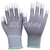 Серая Nylon перчатка при PU покрынный на напальчниках (PN8012)
