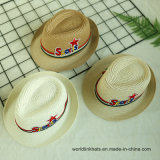 Tampa de Palha enfeite estilo britânico Fashion Fedora Hat Tampa do visor