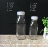 10oz 16oz français bouteille de boisson en verre carré avec capuchon en plastique