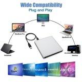 De externe CD DVD CD dvd-RW van de Aandrijving USB3.0 Externe Speler van de Aandrijving DVD van de Brander voor (Zwart) MAC/Laptop/PC