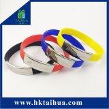 Fascia su ordinazione del silicone del Wristband del silicone con la clip del metallo