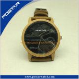 자연적인 나무로 되는 시계 자단, 진짜 가죽끈 손목 시계