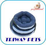 Tecido impresso e Mini-Plush Cão Gato camas redondas WY1711080A/C)