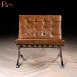 Presidenza del sofà di Barcellona del progettista del Recliner del salotto del cuoio di svago del metallo dell'ufficio