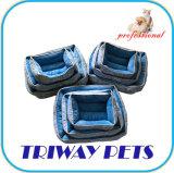 Tecido impresso e Mini-Plush Cão Gato camas redondas WY1711078)