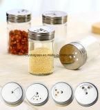 Bottiglia di vetro rotonda dell'agitatore del pepe del sale con la protezione inossidabile