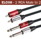 Mono 6.35mm 1/4  aan RCA Dual Microphone Cable Audio Cable