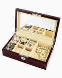 Коробка подарка хранения индикации вахты отделки темного Brown Matt деревянная