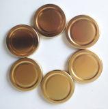 De Kruiken van het glas, de Duidelijke Hexagon Kruiken van het Glas met de Gouden Kappen van het Handvat