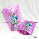 Напечатанный таможней раговорного жанра мешок застежки -молнии, мешок конфеты фураля, мешок конфеты хлопка упаковывая