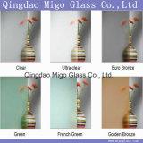 ясность 2-12mm/ультра ясная/евро кислота Bronze/F. зеленая/золотистая бронзовая вытравили матированное стекло