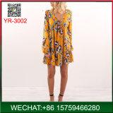 China-Fabrik-Fantasie-V-Necked lange Hülsen-Frauen-Blumenkleider