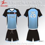熱い販売のサッカー均一デザイン青いCustaomジャージーのワイシャツのサッカーUnifrom