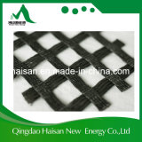 100-100 Kn/M 노상을%s 날실에 의하여 뜨개질을 하는 폴리에스테 애완 동물 Geogrid를 입히는 중국 공급자 PVC