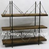 3 Reihe-antike Weinlese-dekorative hölzerne/Metallregal-Teiler